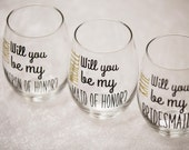 Will you be my Bridesmaid?  Blackand Gold stemless wine glasses Bridesmaids, Maid of honor. Wedding party gifts. Will you be my Bridesmaid?