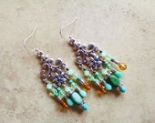 Green bohemian earrings, Bohemian long silver chandelier earrings with turquoise, gold, teal and green glass beads