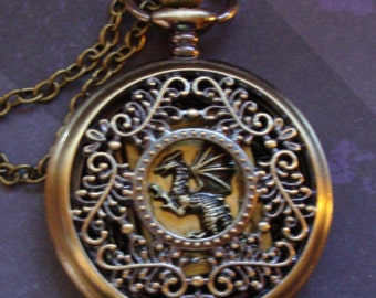 Not a Pocket Watch, it's a Dragon Double Locket in Pocket Case Set, Necklace fits in Pocket Case, wear locket alone OR inside case