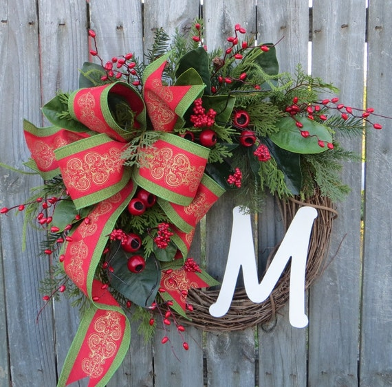 Christmas Wreath, Front Door Christamas Wreaths, Christmas Door Wreaths, Gold Red Grapevine Door Wreath, Magnolia Christmas Wreath, Monogram