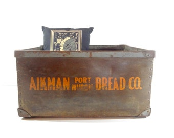 RESERVED - Vintage Industrial Bin / Aikman Bread Company Large Crate / Industrial Storage