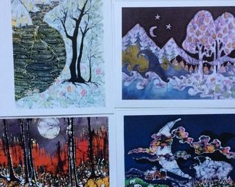 Fantasy Landscape  batik cards set   -  Enchanted landscapes series   -   Set of four Magical blank Cards