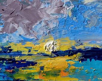 Last Light - Original Oil Painting Landscape Painting Coastal Saltwater Wetlands 5 x 7