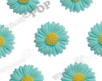 27mm - Large Matte Aqua Blue Daisy Sunflower Resin Cabochons, Daisy Cabochons, Flower Cabochons, Sunflower Cabochons (R6-043)