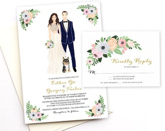 Custom Illustrated Wedding Invitation and RSVP - Couple Illustration - Rustic Invitation -Digital Printable DIY Invites - Wedding Portrait