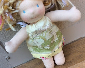 """Waldorf doll clothes, 10"""" Little Buddy, girls with sheep"""