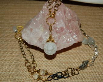 Crackled Quartz Pendulum Necklace 5 in One of a Kind Signature Series Quartz Pendant Quartz Jewelry Interchangeable Necklace Divination