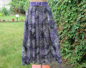 Full Skirt / Full Skirt Pockets / Violet Skirt / Midi Full Skirt / Size EUR36 / 38 / UK8 / 10
