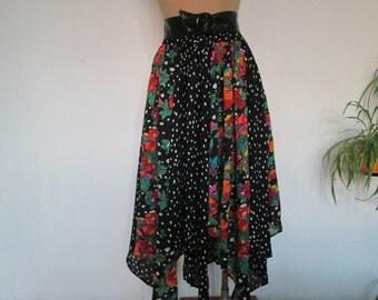 Full Cotton Skirt Vintage / Size EUR40 / 42 / UK12 / 14