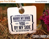 """VALENTINES WEEKEND SALE 8 - Adorable  """"Will You Be My Groomsman"""" - wedding party invitation - Beer Mug Tags - 8 pack"""