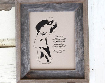 "Famous Sailor Kiss - V-J Day Print - 8x10"" - ""Home Again"" - Typographic"