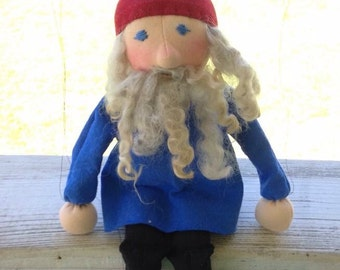 Happy gnome marionette! All natural, waldorf inspired