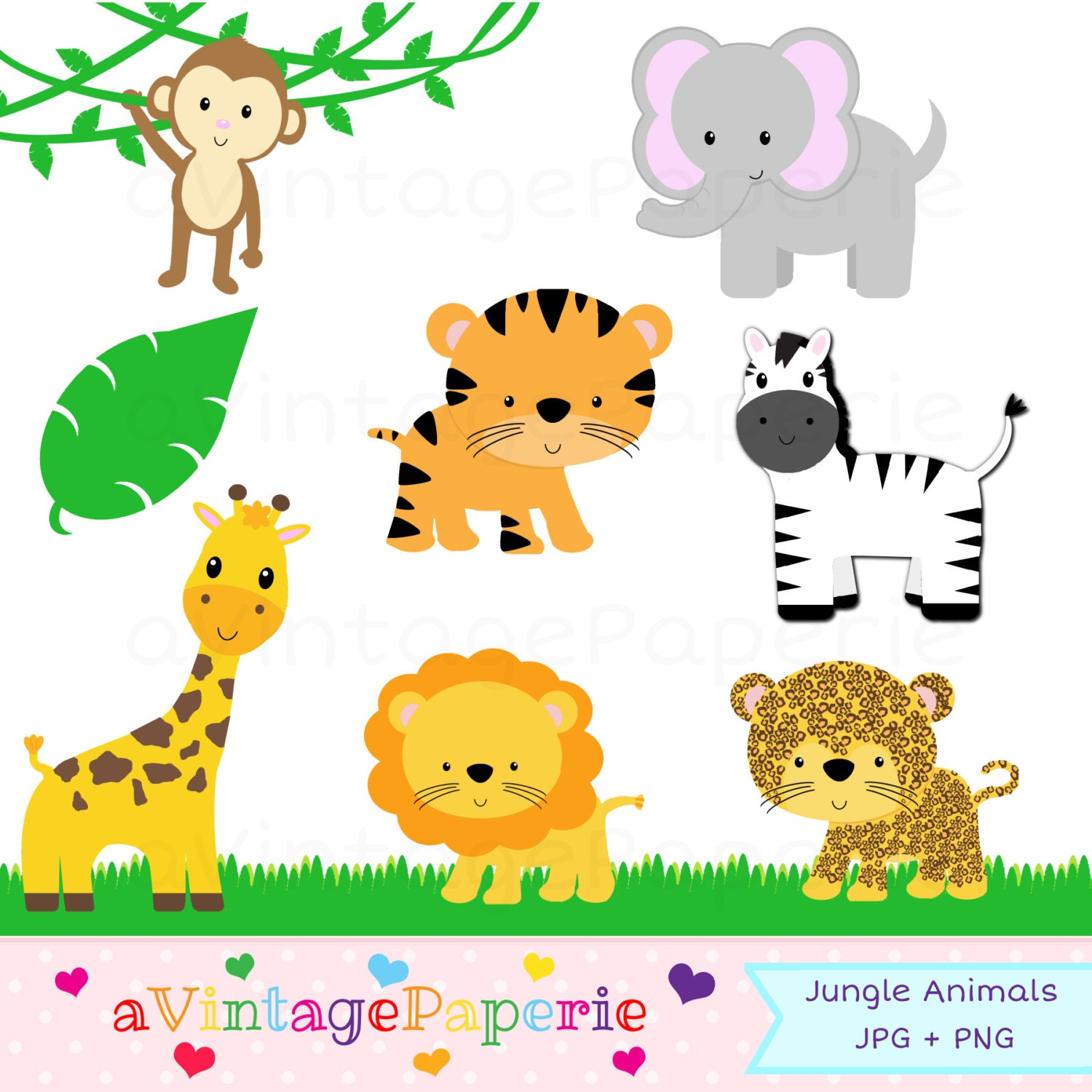Jungle animal clipart - Jungle Animal Clip Art - Zoo ...
