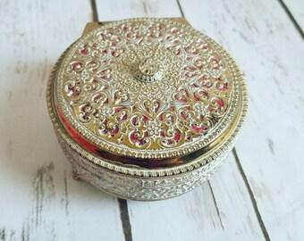 Victorian Brass Box, Gold Jewelry Box, Gold and White, Egyptian Jewelry Box, Round Metal Box, Brass Keepsake Box, Gold Brass