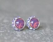 25% OFF SUMMER SALE Purple Opal Earrings Swarovski Crystal Lavender Raspberry Opal Lavender Rhinestone Studs Sugar Sparklers Small Mashugana