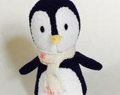 Dark Blue Penguin with scarf, Stuffed Animal Plush Toy, Ecofriendly