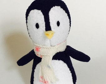 Dark Blue Penguin with scarf, Stuffed Animal Plush Toy, Ecofriendly
