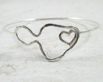 Maui Island Outline Bangle, Sterling Silver, with Heart, Hammered Bracelet, Hawaii Beach Jewelry, Summer Fashion, Maui Lover Gift Idea