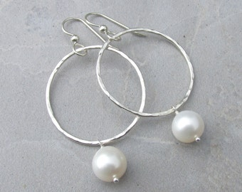 White Pearl Earrings, Silver Hammered Hoops, Freshwater Pearls, Mothers Day Gift Idea, Bridal Jewelry, Wedding Accessory, June Birthstone