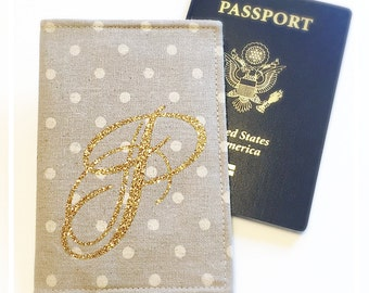 Linen Passport Cover Gold Glitter Monogram Glam Wedding Bridesmaids Maid of Honor Gift International Travel Wallet Cruise Passport Holder