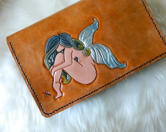 Ready to ship! Leather Fairy Clutch Purse. Hand Carved Leather Fairy Clutch. Leather Clutch Purse. Silver Blue Ombre Fairy Clutch Purse.