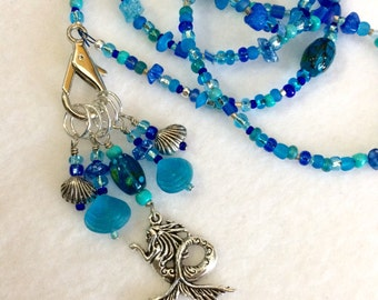 mermaid necklace, stitch marker necklace, jewelry for knitters, gift wrapped
