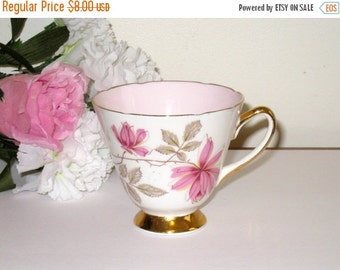 Old Royal Bone China Pink Floral Tea Cup / Footed Teacup With Pink Interior / Gold Trim / Made In England