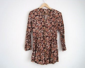 90s Dress | Floral Print Dress | Floral Babydoll Dress | Button Dress with Back Tie | Floral Print Blouse | Grunge Dress | Mini Dress | S M