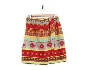 Aztec Print Skirt. Red Blue Southwest Print. 90s Skirt. Vintage Women Skirt. Wrap Mini Skirt. Bright Summer. Geometric Patterns. Hipster.