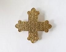 Maltese Cross / Accessocraft NYC Cross Pin / Cross Pin / Cross Brooch / Cross Pendant / 80s Cross Pin / Filigree Style Pin