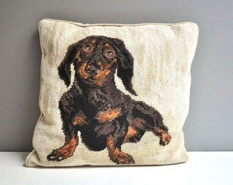 Vintage Dachshund Needlepoint Pillow