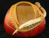 Forest Path - Antler and Pine Needle Coiling Gourd Art