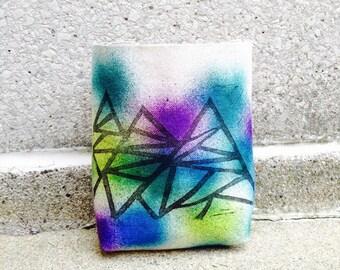 chalk bag, rock climbing chalk bag, chalkbag, linoprint, handcarved, blockprint, rock climbing, chalk bag..1-3 day order