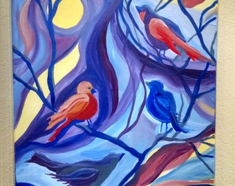Bird oil painting, original bird oil painting on wrapped canvas