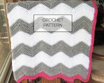 CROCHET PATTERN : Chevron crochet baby blanket pattern