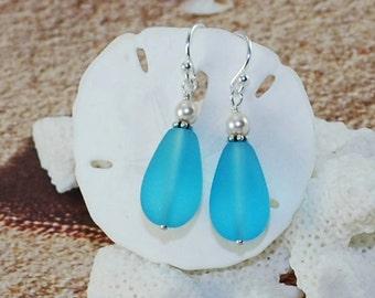 Beach Jewelry Seaglass Earrings Aqua Blue Frosted Teardrops Sterling Silver Earrings Nautical Fashion Ocean Earrings Gift For Her Beach Gift