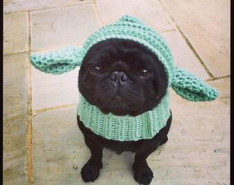 The yoda dog hat. Yoda hat, snood for your dog. Pug, french bulldog, greyhound, king charles spaniel hat. Uk seller