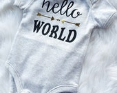 Baby unisex one piece.New baby.vinyl heat bonded.singlet.Baby shower gift.Photo shoot.hello world.black and gold. grey.Baby clothing.singlet