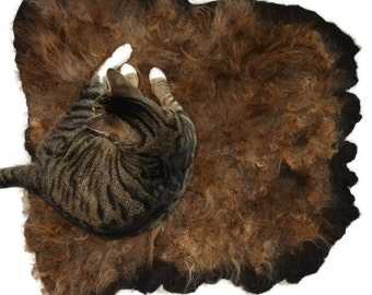 Wool Cat Bed - Pet Bed - Sheep-friendly Felted Fleece Rug - Icelandic Moorit - Supporting Small Farms of The United States - Ready to Ship