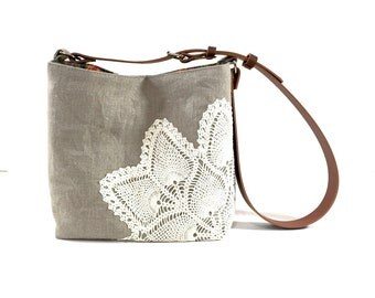 Natural Linen Cross Body Bag with Vintage Doily