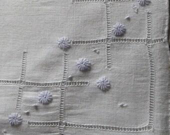 Vintage embroidered  hankie Hanky  blue flowers