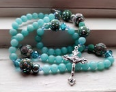 Rosary in Teal, Teal Rosary, Handmade Rosary, free shipping, birthday day rosary gift