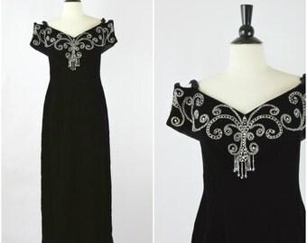 Vintage 80s Mike Benet glam black velvet floor length gown / portrait shoulder beaded evening dress
