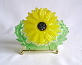 Vintage Lucite Napkin Holder Yellow Flower Power