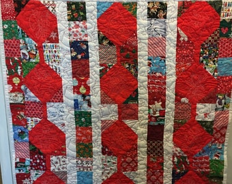 Christmas Match Game Throw Quilt