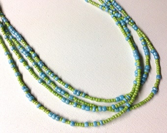 Green and Blue Seed Bead Necklace with Silver Cone