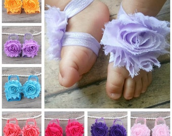 Set of 8 Baby Barefoot Sandals, Infant summer shoes, Baby Gift, Baby Accessories, Newborn Shoes, Baby Shoes, Toe Blooms, 18 color to choose