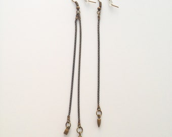 Asymmetrical Brass and Charm Earrings