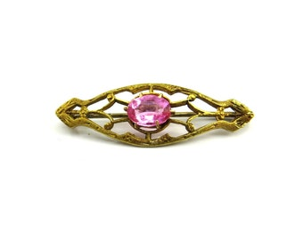 Art Deco Brooch, Pink Stone, Gold Filigree Pin, Pink Glass Jewelry. 1930s, Art Deco Jewelry
