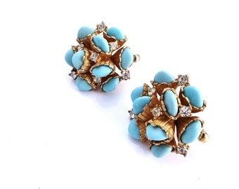 Marcel Boucher Earrings Gold Turquoise Glass Rhinestone Cluster Earrings Signed Designer Boucher Jewelry